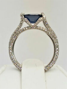 4.3 Ct Blue & White Diamond Iced Out Woman Cocktail Wed Party Ring 925 Silver