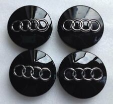 4 x Black AUDI CENTRE CAPS 60mm alloy wheel center Badges A  2 3 4 5 6 8 Q RS TT