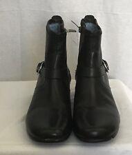 aravon Boots Women Black Leather Side Zip Ankle Silver Buckle Size 8AA Female