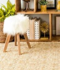 Girls Vanity Chair White Faux Fur & Wood Stool Kids Seat Child Diva Decor