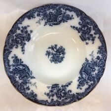 "ROYAL STAFFORDSHIRE ARCADIA FLOW BLUE 10"" BOWL GILT RIM"