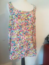 CURVE PLUS 20 NEW LOOK RAINBOW FLORAL VEST TUNIC CUTE 60S RETRO BRIGHT BOLD