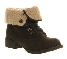 WOMENS BLOWFISH KARONA FAUX SUEDE ANKLE BOOTS - UK SIZE 3 - DARK BROWN FAWN.