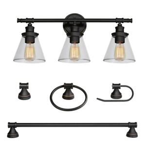 Parker 3-Light Oil R. Bronze 5-Piece All-In-One Bath Light Set by Globe Electric