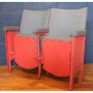 Pair of Vintage Retro Circa 1930s Cinema Theatre Seats or Chairs with Aisle Ends