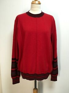NWT Marni red cashmere wool jumper striped detail oversized sweater 46 14