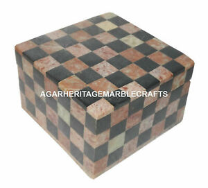 """5""""x5"""" Marble Jewelry Box chess Sqaure Trinket Box Collectible Gift H1284"""