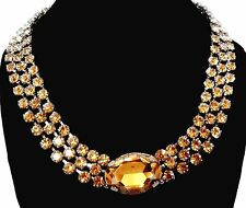 Signed Christian Dior Necklace Rhodium Plated with Citrine Crystals 90gr New 18""