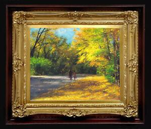 "ORIGINAL Oil Painting Handmade Arseni ~ AUTUMN 11,6"" X 9,4"" NO FRAME"