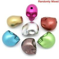 100PCs Acrylic Halloween Skull Spacer Beads Jewelry Making Supplies 13mmx11mm