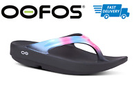 🇺🇸OOFOS OOLALA SANDAL BLACK AURORA Women's Thong Flip Flop Recovery - NEW!!!