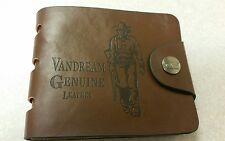 "NEW MENS PORTED ""VANDREAM"" BROWN LEATHER WALLET COWBOY CLUTCH SNAP BUTTON BIFOLD"