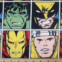 Marvel Comics Wolverine Thor Iron Man Hulk Squares Classic 100% Cotton Fabric