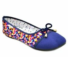 Andrea Women's Ballet Flat Shoes Casual Doll Shoes (BLUE multicolor) SIZE 38
