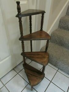 Antique Wooden Spindle Leg Plant, Whatnot , Display  Staircase Floor Shelf