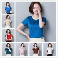Ladies Faux Silk Satin Tops Glitter Shirts Plain Crew Neck Short Sleeves Casual