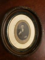 Antique Oval Wood Picture Frame Photograph of 1800s man Dan McINTIRE Indiana