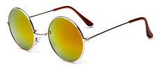 Rond lunettes de soleil rétro cuivre & or miroir + wrapz pochette UV400 complet Y26 lennon