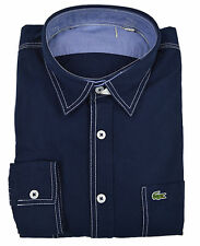 Lacoste NWD Mens Navy Blue Contrast Stitched Button Down Shirt Sz 40 Medium M