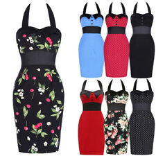 Promotion- Women Retro 50s Pinup Swing Halter Evening Party Bodycon Pencil Dress