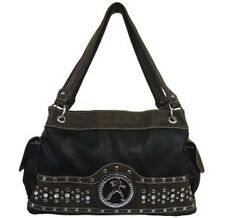 Black Elvis Presley Rhinestone & Studded Accented Satchel Style Purse