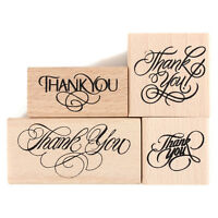 Vintage Thank You Wooden Rubber Stamp Craft Wedding Party 4 Styles To Choose TB
