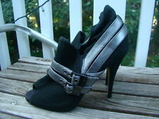 BABY PHAT BLACK LEATHER SILVER BUCKLE RUFFLE BOOTIE HIGH HEELS SIZE 6.5 M
