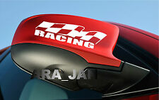 RACING flag Vinyl Decal sport sticker emblem car mirror logo color WHITE