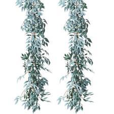 2pcs Artificial Gray Willow Leaves Garland Faux Silk Wedding Wall Backdrop Decor