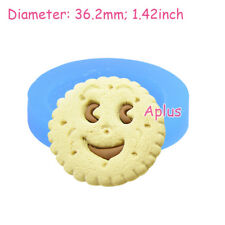 QEB146 36.2mm Smiling Face Cookie Biscuit Silicone Mold Cake Craft Resin Clay
