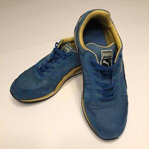 Puma Classic Suede Lowtop Sneakers, Mens 10, Blue/Yellow, Logo Swoosh, UK 9