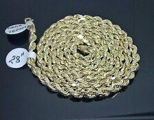 "10K Men's Yellow Gold Rope Chain With Diamond Cuts 4mm 28"" 8.8gm Franco, Italian"