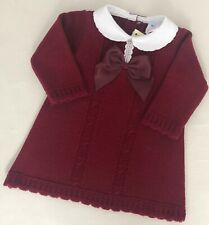 Baby Girls Spanish Style Wine  Ribbon Bow Cable Knitted Dress 3-6M