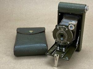 Eastman Kodak 1930s Boy Scout Green Folding Camera w/case - Clean !