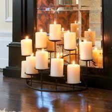 Fireplace Candelabra Candle Holder Centerpiece Black Metal Modern Decor Gift New
