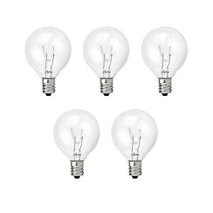 5 Pack Replacement 5 Watt G40 Globe Bulb Incandescent E12 Base