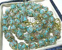 "Aquamarine Venetian Murano Glass Gold Foil Bead Vintage Style 18"" Long NECKLACE"