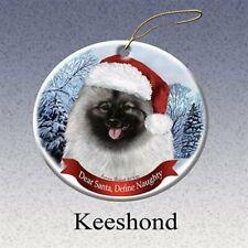 Holiday Pet Gifts Keeshond Santa Hat Dog Porcelain Christmas Tree Ornament
