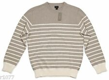 *NEW* J.Crew Men's Medium Striped Cotton Sweater - Tan / Ivory *NWT*