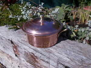 Lovely Stamped West Germany Vintage Copper Lined Stock Pan & Lid Ref MP/187