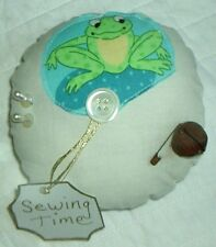 Handmade Primitive Frog Pin Keep Cushion Ornament Whimsical Sewing Time Tag