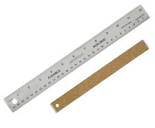 """30cm 12"""" STAINLESS STEEL METAL RULER FLEXIBLE NON SLIP CORK BACKED CRAFT CBR12"""