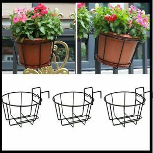 Over Deck Rail Planter Hanging Flower Pot Holder Balcony Plant Baskets, Set of 3