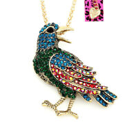 Betsey Johnson Crystal Pigeon Bird Pendant Sweater Chain Necklace/Brooch Pin