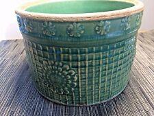 Antique McCoy Primitive Stoneware Green Flowers Butter Crock