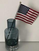 "Vintage 7-1/2"" Krosno Poland Art Glass Smokey Blue Vase-Hand Blown Retro- L@@k"