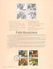 #9813 32c Folk Musicians Stamps #3212-15 Souvenir Page