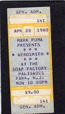 1980 Aerosmith Unused full concert ticket Palisades Park NJ Night In The Ruts