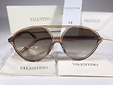 $270 New Authentic Valentino Aviator Sunglasses Walnut Light Brown Gray Gradient