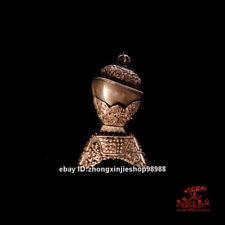 Tibet Copper Silver carve Buddhism FaQi kapala skull cup bowl Statue 18cm